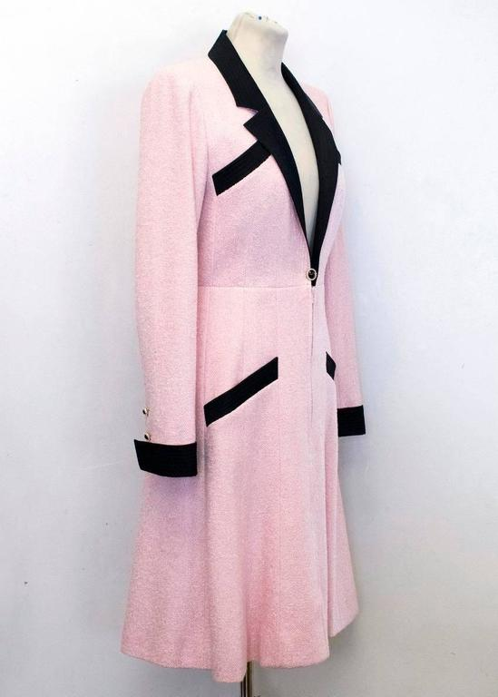 Chanel Silk Tweed Milkshake Pink and Black Dress Coat 8