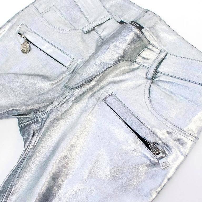 Balmain Metallic Leather Motocross Trousers 7