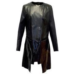 Fendi Black Leather Two Toned Coat US 6