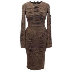 Burberry Prorsum Brown Tweed Bowback Dress