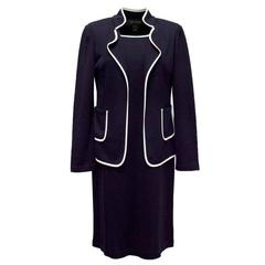 St John Navy Blue and White Edged Dress & Blazer