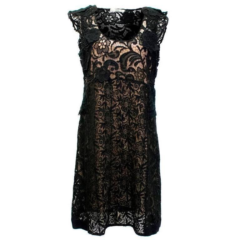 Prada Black Crotchet Dress with Capped Sleeves