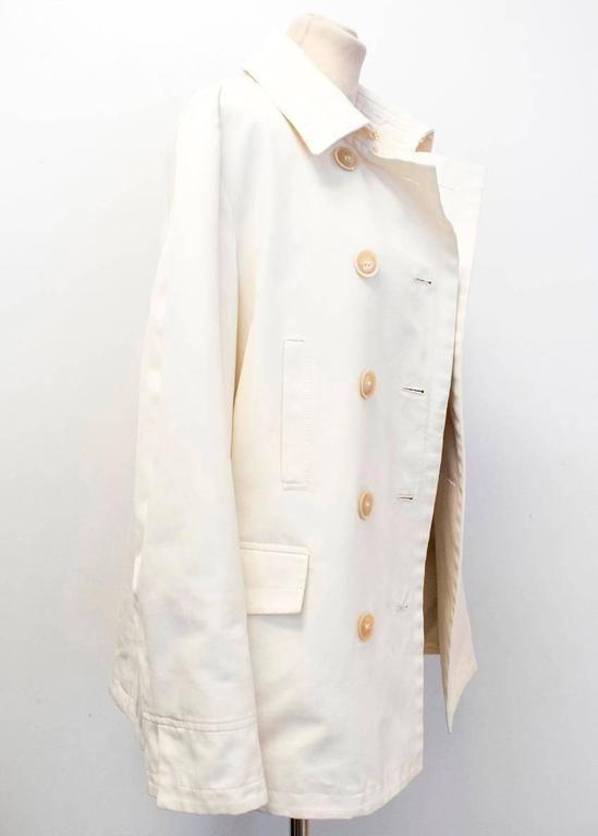 Men's Loro Piana Men Cream Double Breasted Coat  IT 48 For Sale