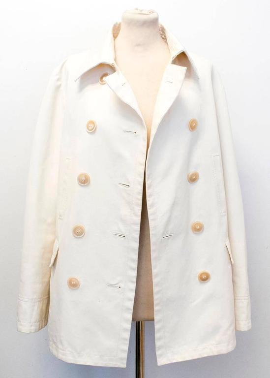 Beige Loro Piana Men Cream Double Breasted Coat  IT 48 For Sale