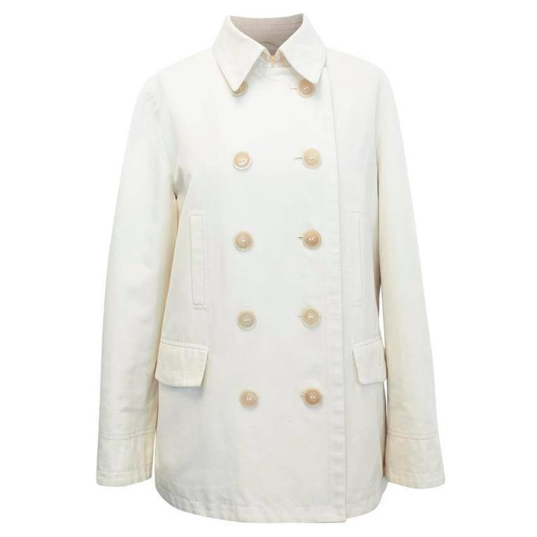 Loro Piana Men Cream Double Breasted Coat  IT 48 For Sale