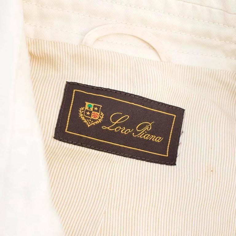 Loro Piana Men Cream Double Breasted Coat  IT 48 For Sale 3