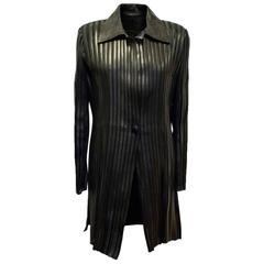 Jitrois Black Long Leather Stripe Panel Jacket