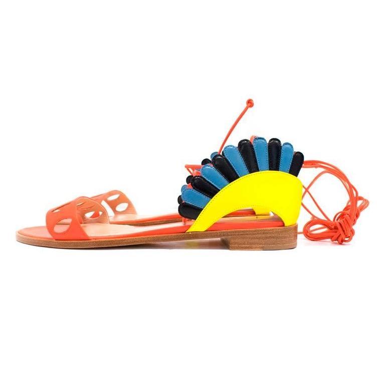 Paula Cademartori Multicolour Lotus Flat Sandals 7