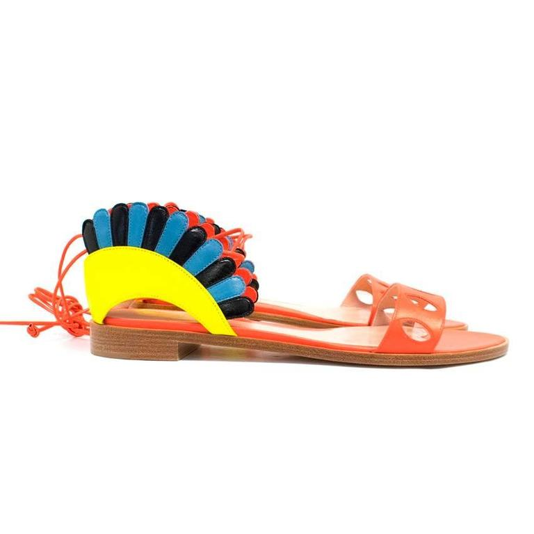 Paula Cademartori Multicolour Lotus Flat Sandals 4
