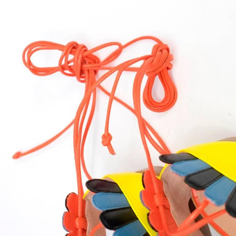 Paula Cademartori Multicolour Lotus Flat Sandals 9