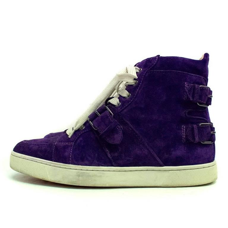 Christian Louboutin mens purple suede hi-top trainers. Features two buckle  details at the 72afa9dbfb73