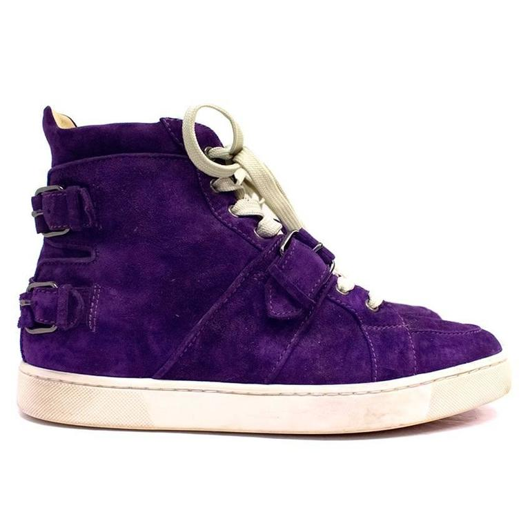size 40 7ce46 6624a Christian Louboutin Mens Purple Suede Hi-top Trainers
