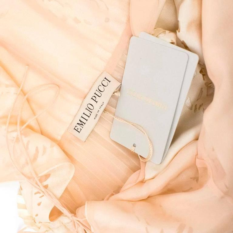 Beige Emilio Pucci Lasercut Silk and Chiffon Dress For Sale