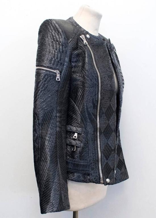 Balmain Black Silk Blend Patterned Biker Jacket For Sale