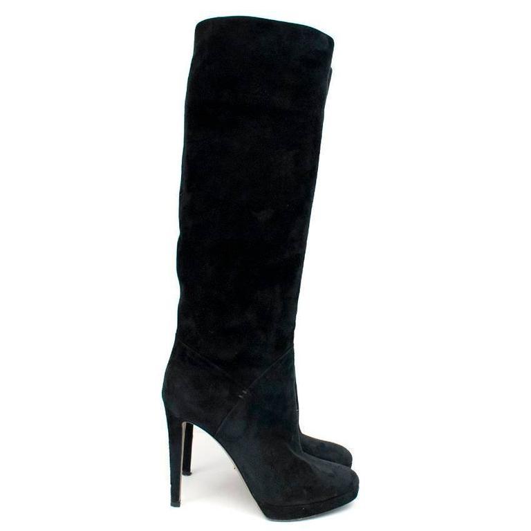 sergio rossi black suede knee high boots for sale at 1stdibs. Black Bedroom Furniture Sets. Home Design Ideas