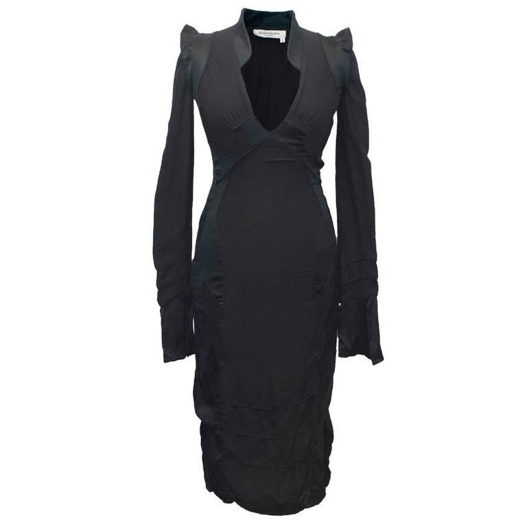 Yves Saint Laurent Black Silk Long Sleeved Dress