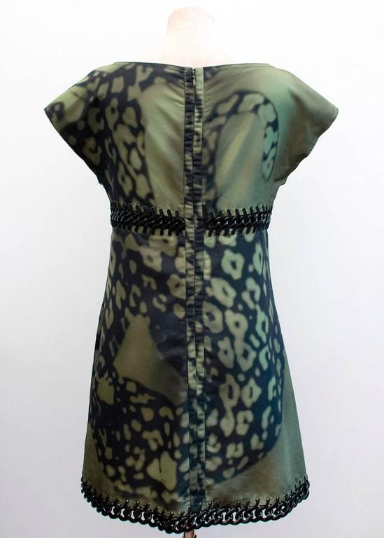 Prada Green And Black Printed Silk Dress For Sale 1