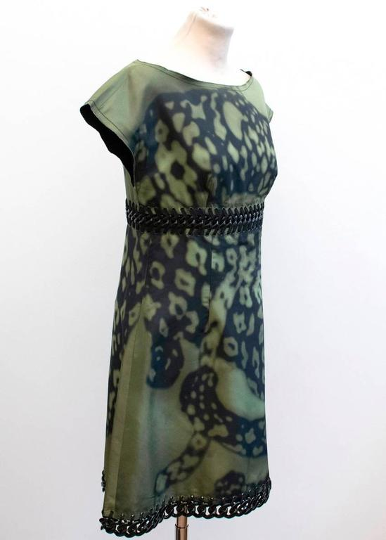 Prada Green And Black Printed Silk Dress In Excellent Condition For Sale In London, GB