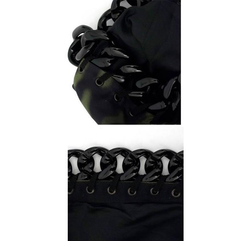 Prada Green And Black Printed Silk Dress For Sale 3