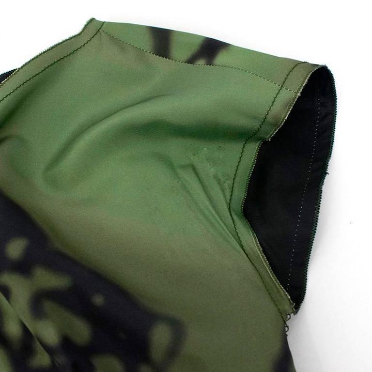 Prada Green And Black Printed Silk Dress For Sale 2