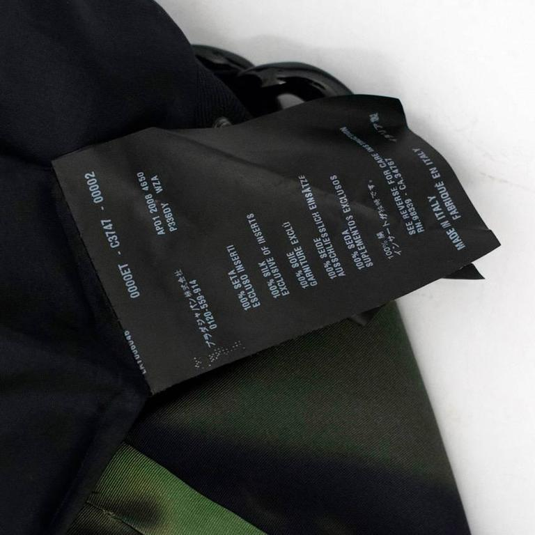 Prada Green And Black Printed Silk Dress For Sale 4