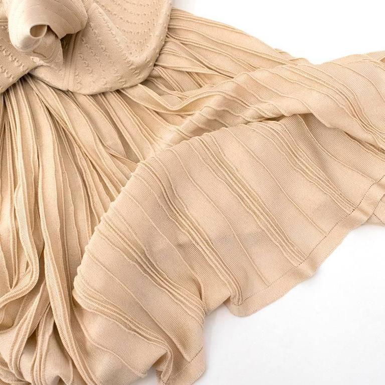 Chanel Nude Pleated Dress In Excellent Condition For Sale In London, GB
