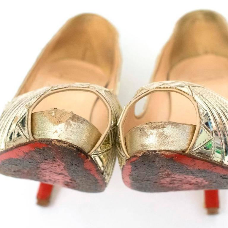 ccb0e5d343f9 Christian Louboutin Gold Patent Leather Peep Toe Heels For Sale at ...