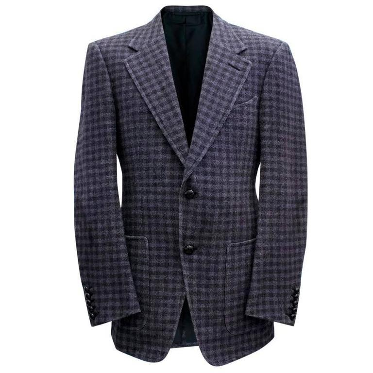 Tom Ford Black And Purple Check Blazer 1