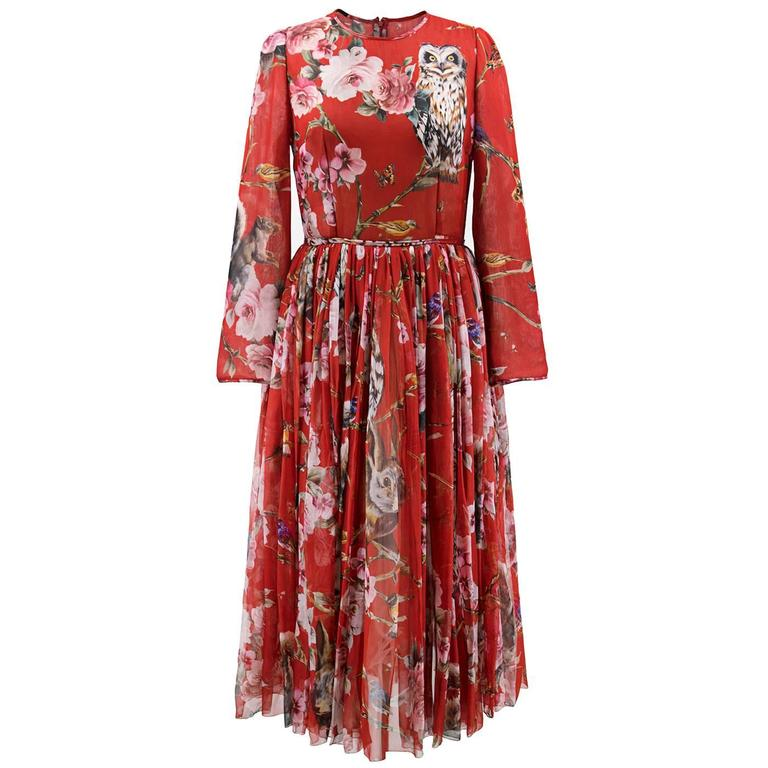 19f3f8bd3e9 Dolce and Gabbana Red Floral and Owl Print Silk Dress at 1stdibs