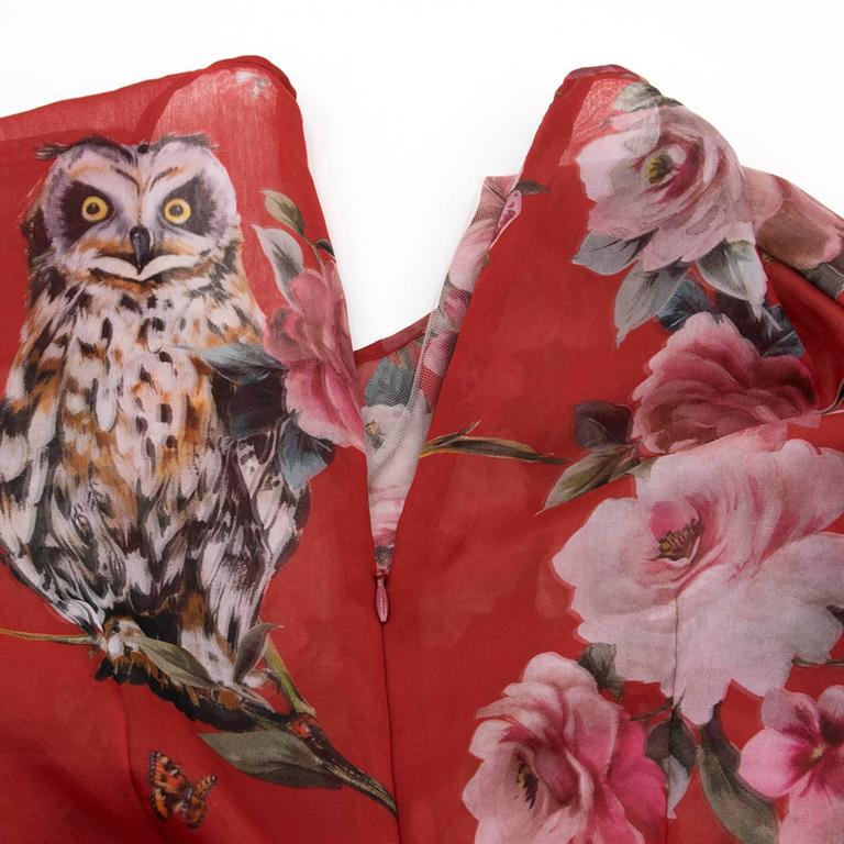 009dc58c97c Dolce and Gabbana Red Floral   Owl Print Silk Dress In New Condition For  Sale In