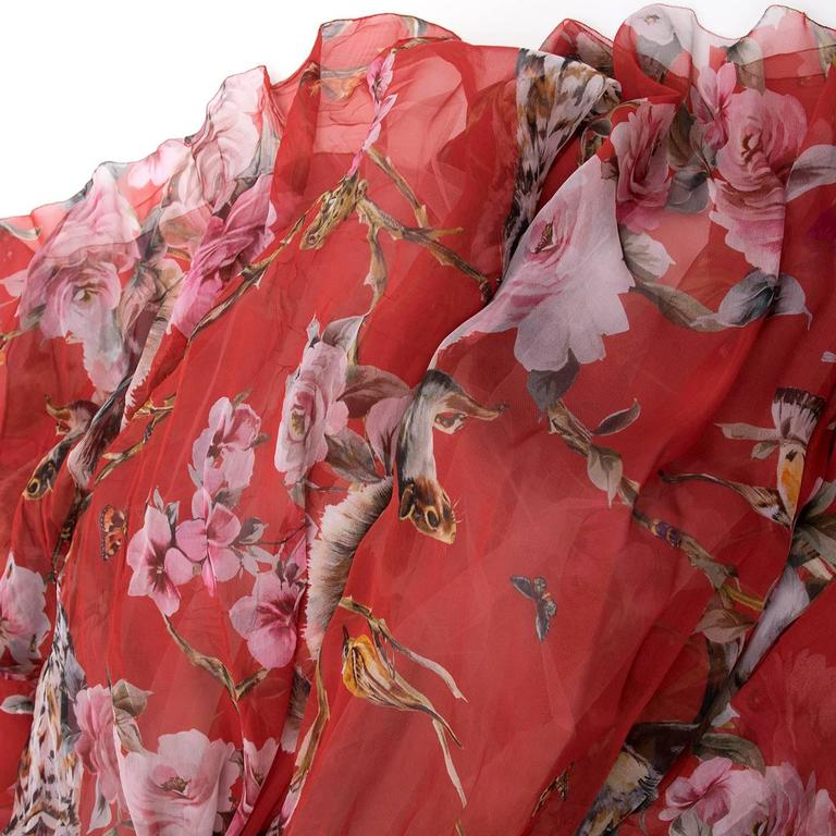6c2d835948a Dolce and Gabbana Red Floral and Owl Print Silk Dress at 1stdibs