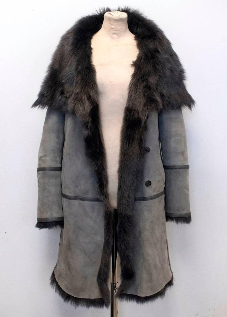 Closed Grey Lambskin Leather Fur Lined Coat For Sale At