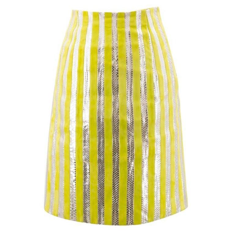 Prada Lime Green and Silver Python Striped Skirt