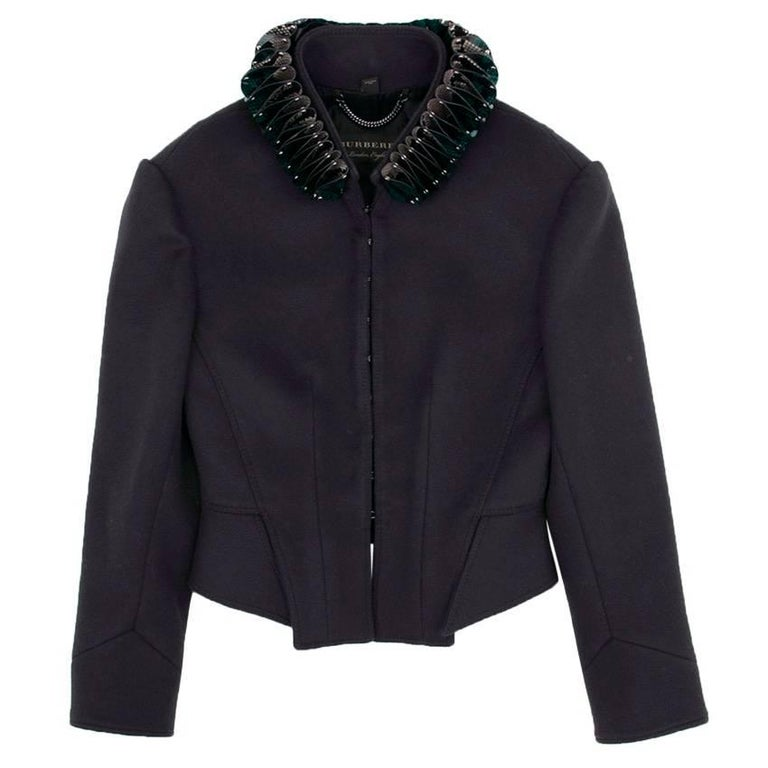 Burberry Navy Jacket with Detachable Collar