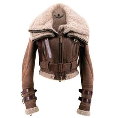 Burberry Brown Leather & Fur Jacket