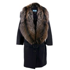 Prada Wool Coat With Fox Fur Collar