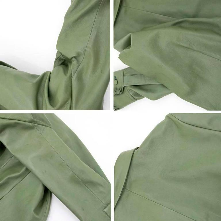 2205df001 Button-down top in soft green leather featuring frilled detailing. Gray Gucci  Green Leather Top For Sale