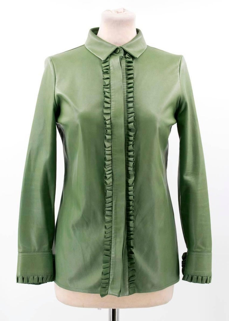 Gucci Green Leather Top In Good Condition For Sale In London, GB