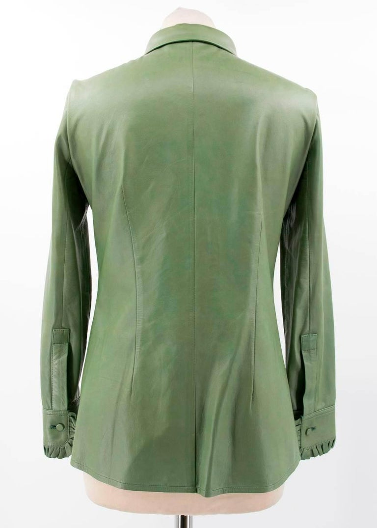 Women's Gucci Green Leather Top For Sale