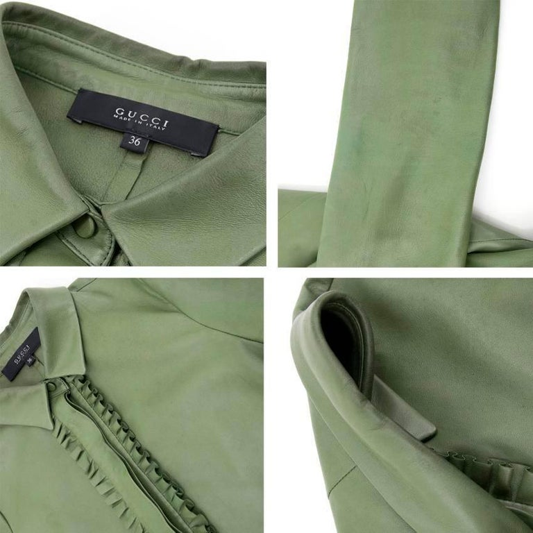 Gucci Green Leather Top For Sale 3