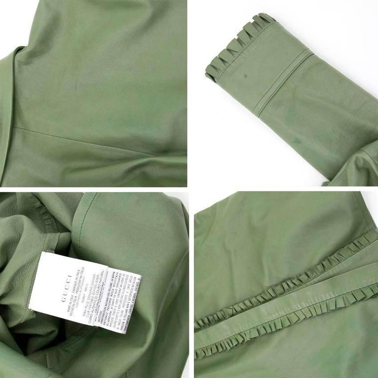 Gucci Green Leather Top For Sale 5