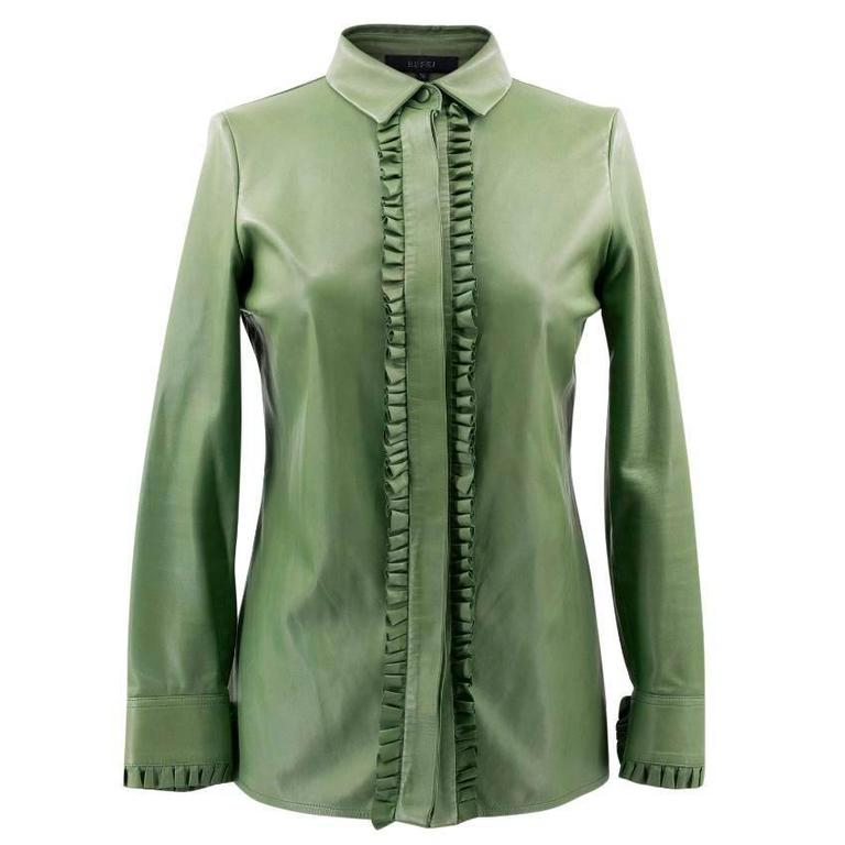 bbbb4f4e4 Gucci Green Leather Top For Sale. Gucci green leather top. Button-down top  in soft green leather featuring frilled detailing