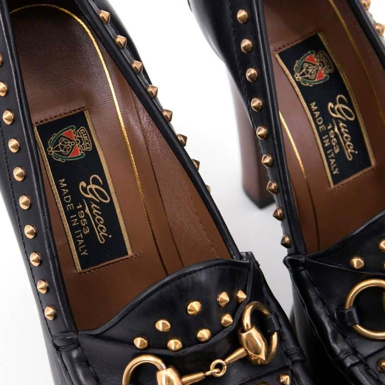f6f91b7f567 Gucci Alyssa Stud Moccasin Heels For Sale at 1stdibs