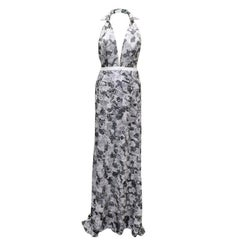 Maison Anoufa Couture Silver Embroidered Halter Neck Gown