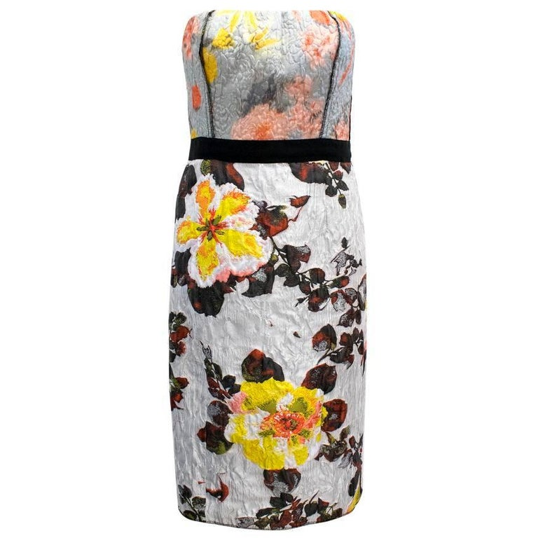 Oscar de la Renta Floral Strapless Dress For Sale
