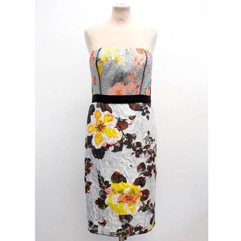 Oscar de la Renta Floral Strapless Dress 2