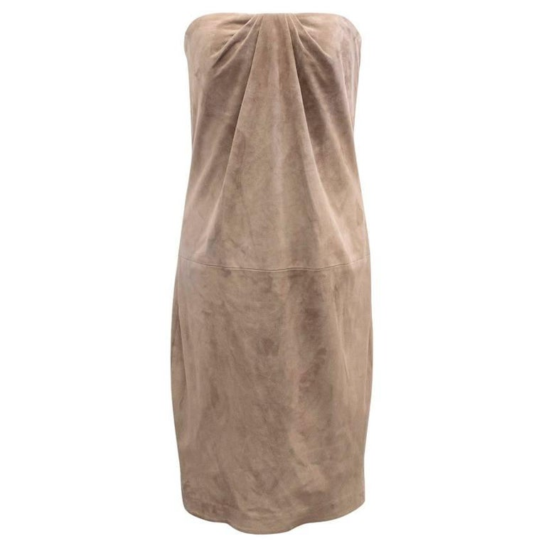 Ralph Lauren Taupe Suede Strapless Dress - Size US 6 For Sale