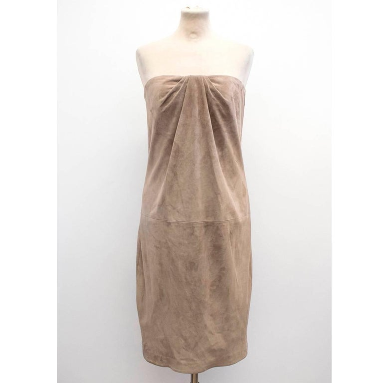 Brown Ralph Lauren Taupe Suede Strapless Dress - Size US 6 For Sale