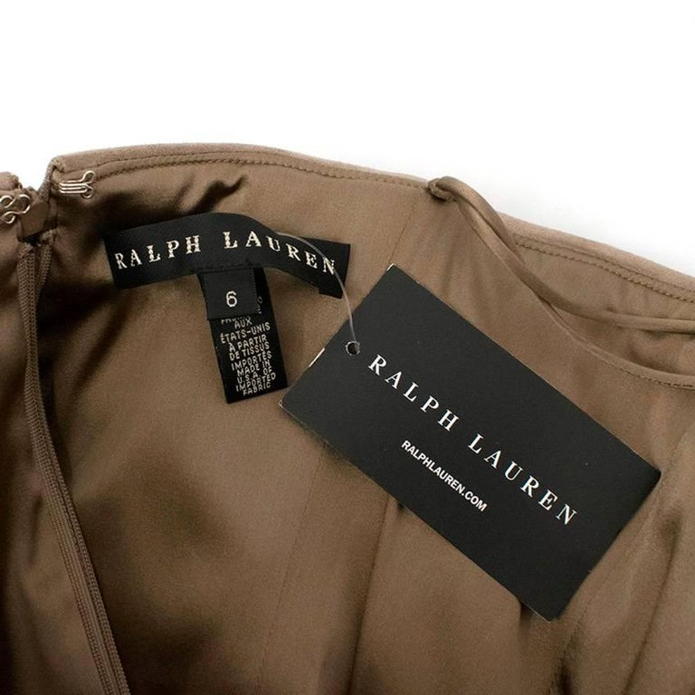 Ralph Lauren Taupe Suede Strapless Dress - Size US 6 For Sale 1