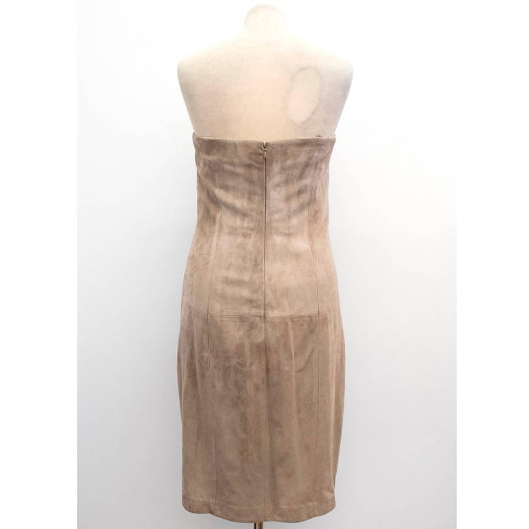 Ralph Lauren Taupe Suede Strapless Dress - Size US 6 In New Condition For Sale In London, GB